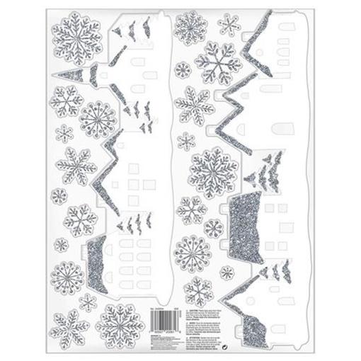 Obrázek z Vánoční samolepka na okno s glitry - Krajina 26 ks