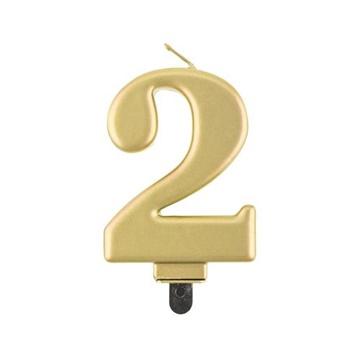 Obrázek Svíčka narozeninová číslice 2 metalická zlatá