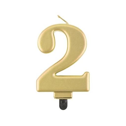 Obrázek z Svíčka narozeninová číslice 2 metalická zlatá