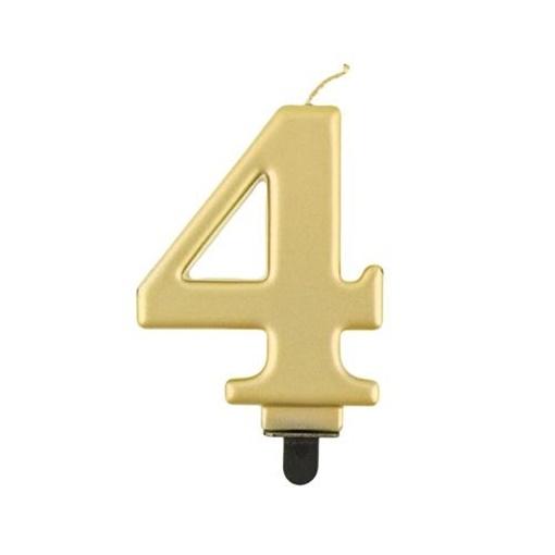 Obrázek z Svíčka narozeninová číslice 4 metalická zlatá
