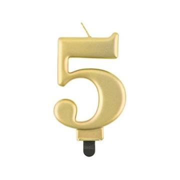 Obrázek Svíčka narozeninová číslice 5 metalická zlatá