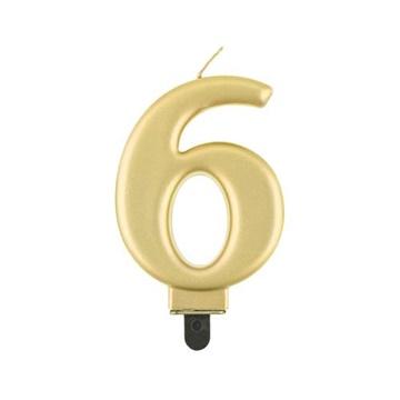Obrázek Svíčka narozeninová číslice 6 metalická zlatá