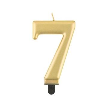 Obrázek Svíčka narozeninová číslice 7 metalická zlatá