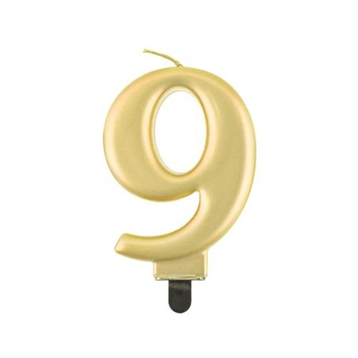 Obrázek z Svíčka narozeninová číslice 9 metalická zlatá