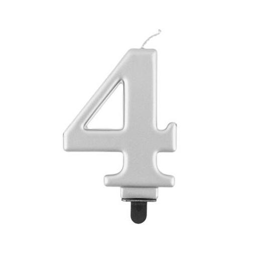 Obrázek z Svíčka narozeninová číslice 4 metalická stříbrná
