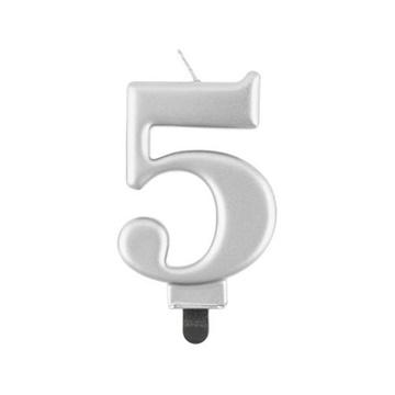 Obrázek Svíčka narozeninová číslice 5 metalická stříbrná