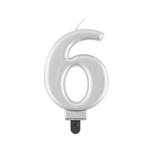 Obrázek z Svíčka narozeninová číslice 6 metalická stříbrná