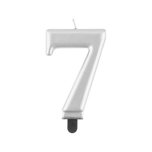 Obrázek z Svíčka narozeninová číslice 7 metalická stříbrná