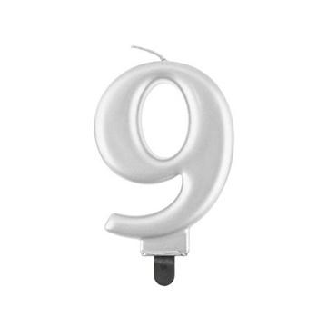Obrázek Svíčka narozeninová číslice 9 metalická stříbrná