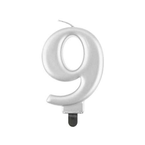 Obrázek z Svíčka narozeninová číslice 9 metalická stříbrná