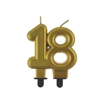 Obrázek Svíčka narozeninová číslice 18 metalická zlatá