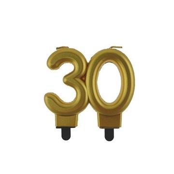 Obrázek Svíčka narozeninová číslice 30 metalická zlatá