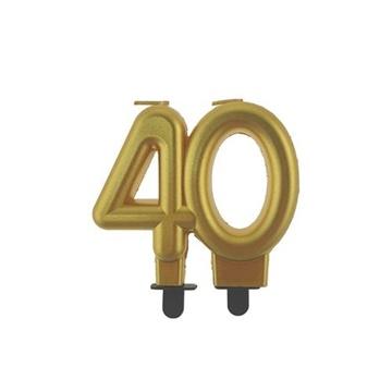 Obrázek Svíčka narozeninová číslice 40 metalická zlatá