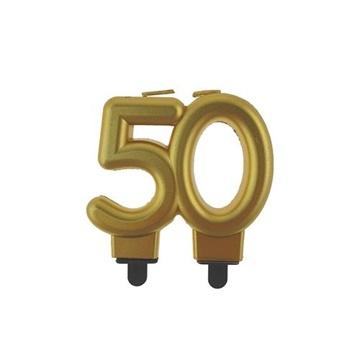 Obrázek Svíčka narozeninová číslice 50 metalická zlatá
