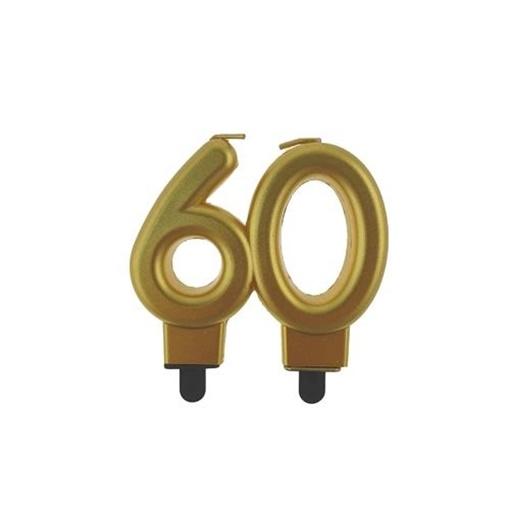 Obrázek z Svíčka narozeninová číslice 60 metalická zlatá