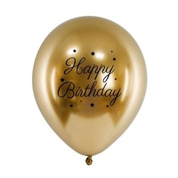 Obrázek Chromový balonek Happy Birthday zlatý 33 cm