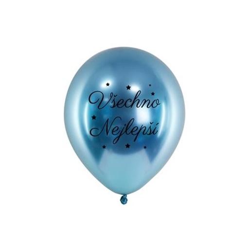 Obrázek z Chromový balonek Všechno nejlepší modrý 33 cm
