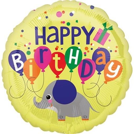 Obrázek z Foliový balonek Sloník Happy Birthday 45 cm