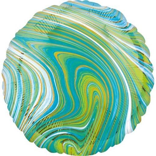 Obrázek z Foliový balonek mramorový 45 cm modro-zelený