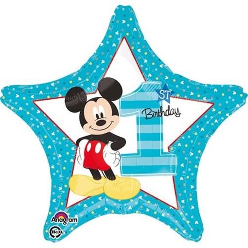 Obrázek z Foliový balonek hvězda 1st birthday Mickey 45 cm