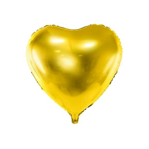 Obrázek z Foliový balonek srdce zlaté 45 cm - balené