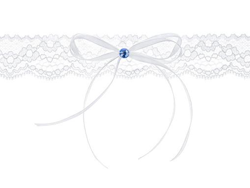Obrázok z Svadobné podväzok biely s modrým kamienkom