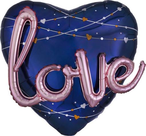 Obrázok z Fóliový balónik modré srdce - 3D rose gold nápis LOVE 91 cm