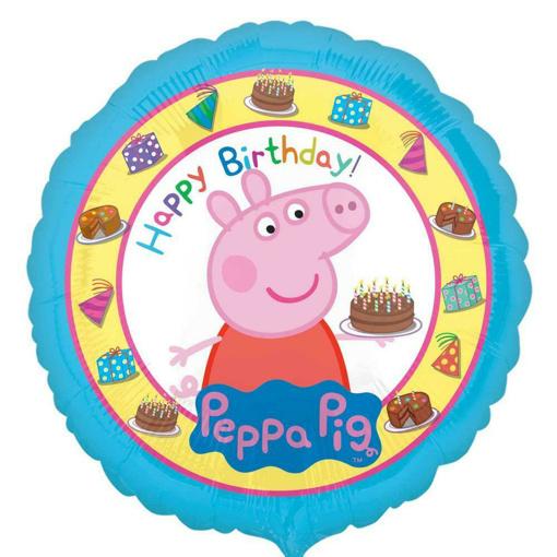 Obrázok z Foliový balonek Prasátko Peppa Happy Birthday modrý - 43 cm