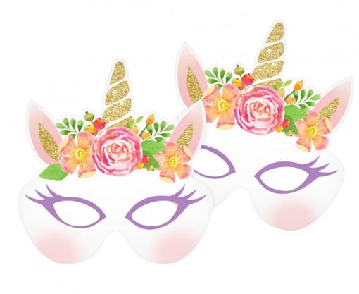 Obrázek z Party masky - Jednorožec Floral 6 ks