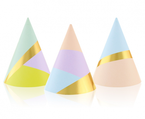 Obrázek z Papírové čepičky Pastel Gold 6 ks