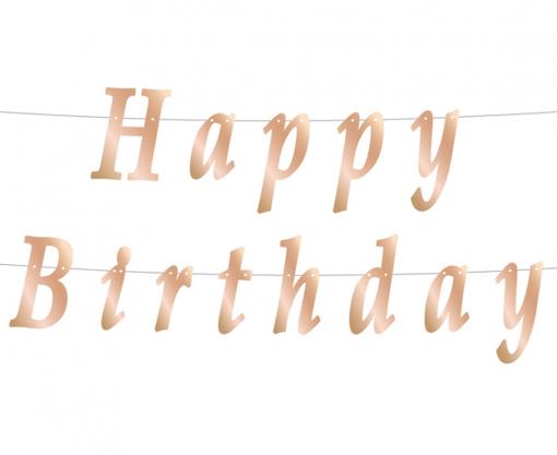 Obrázok z Papírový nápis rose gold Happy Birthday 200 cm