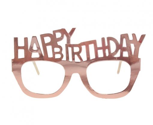 Obrázek z Papírové brýle rose gold Happy Birthday 4 ks